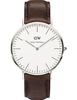 DANIEL WELLINGTON: Classic Bristol stainless steel and leather watch 40mm