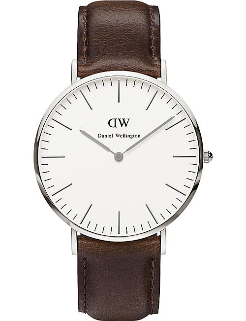 DANIEL WELLINGTON Classic Bristol stainless steel and leather watch 40mm