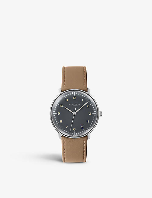 JUNGHANS: 027/3401.00 Max Bill stainless-steel and leather watch