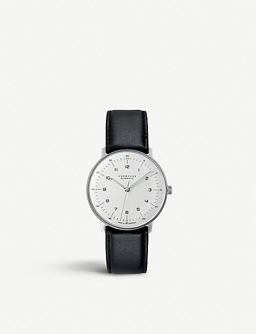 JUNGHANS: 027/3500.04 Max Bill stainless steel and leather automatic watch