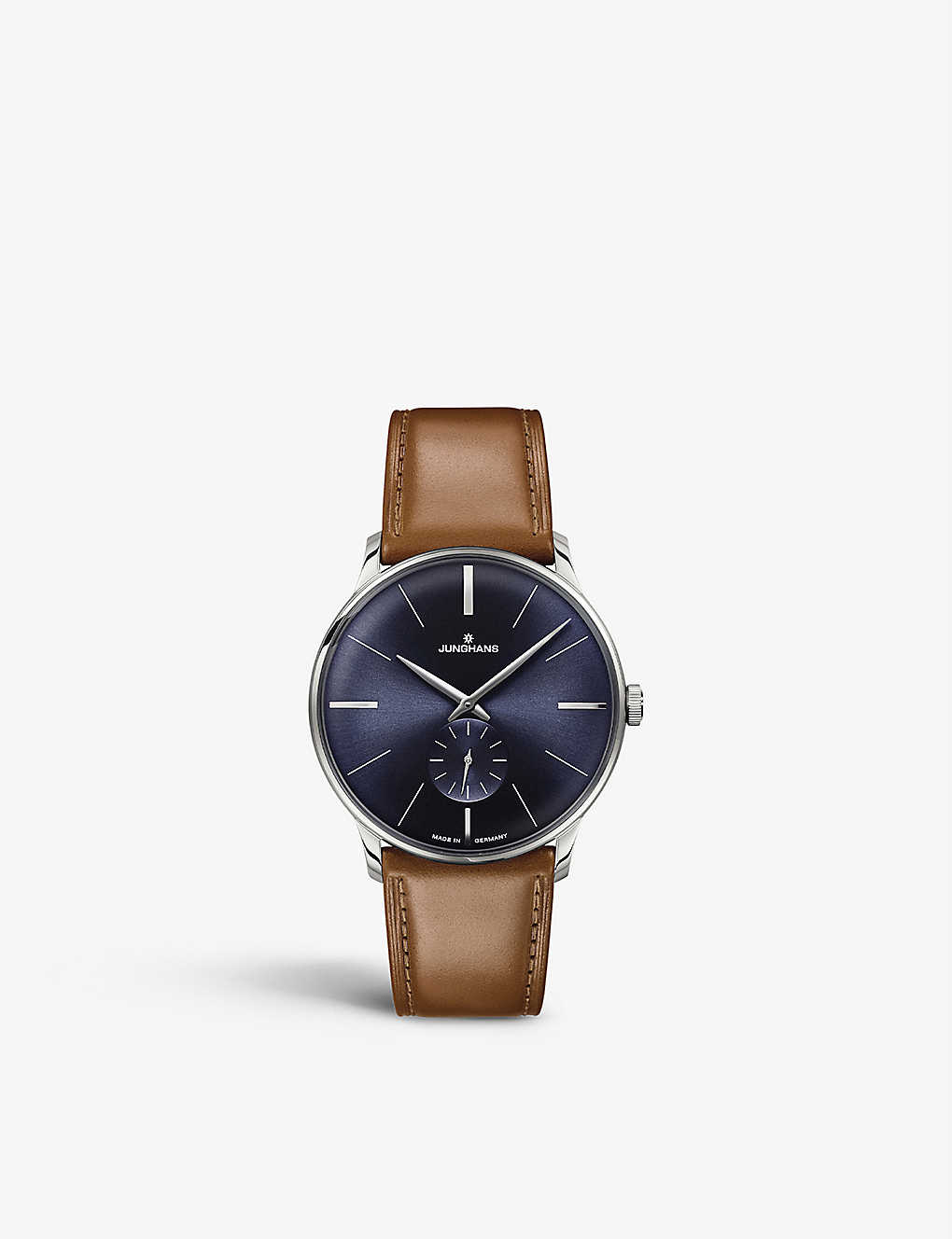 JUNGHANS: 027/3504.00 Meister Hand-winding stainless steel and leather watch