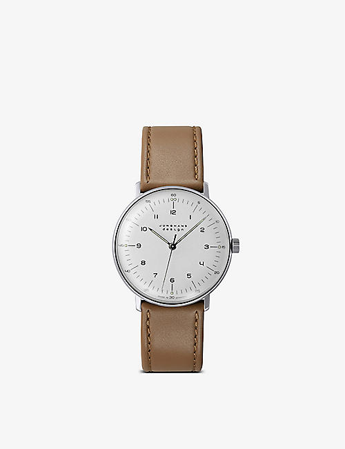 JUNGHANS: 027/3701.00 Max Bill stainless and leather watch