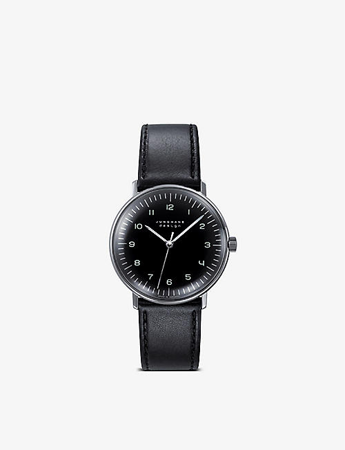 JUNGHANS: 027/3702.00 Max Bill stainless steel and leather watch