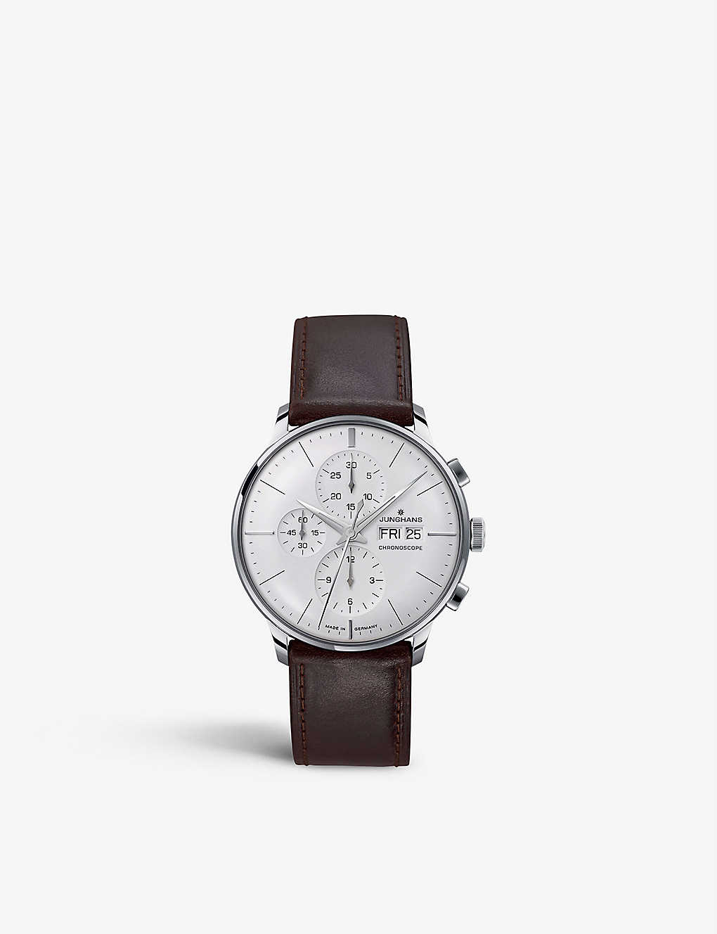 JUNGHANS: 027/4120.01 Meister Chronoscope stainless steel and leather watch