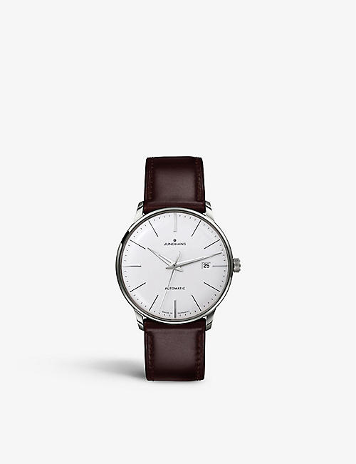 JUNGHANS: 027/4310.00 Meister classic stainless steel and leather watch