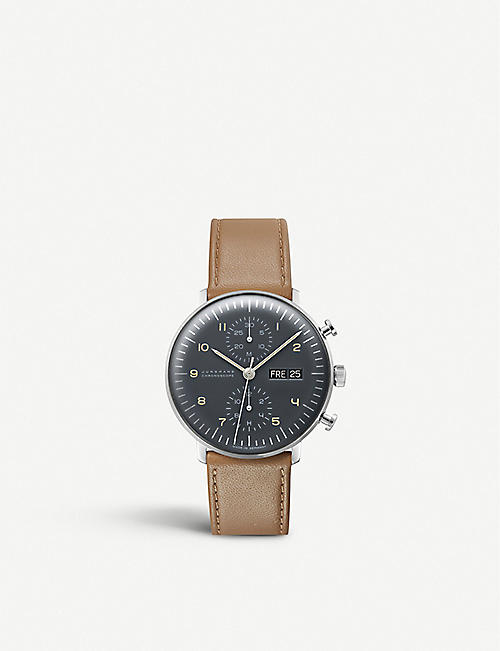 JUNGHANS 027/4501.01 Max Bill Chronoscope stainless steel and leather watch