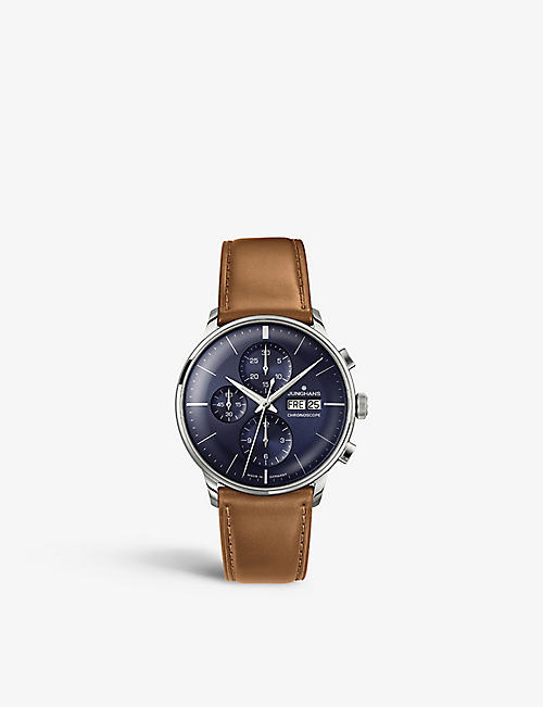 JUNGHANS: 027/4526.01 Meister Chronoscope stainless steel and leather watch