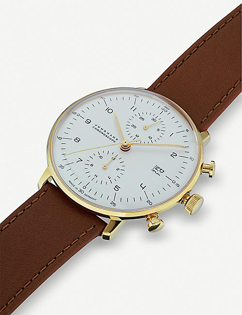 JUNGHANS 027/7800.00 Max Bill automatic chronoscope stainless steel and leather watch