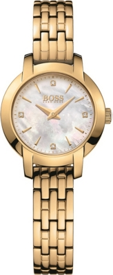 BOSS Success mother-of-pearl and yellow-gold PVD watch