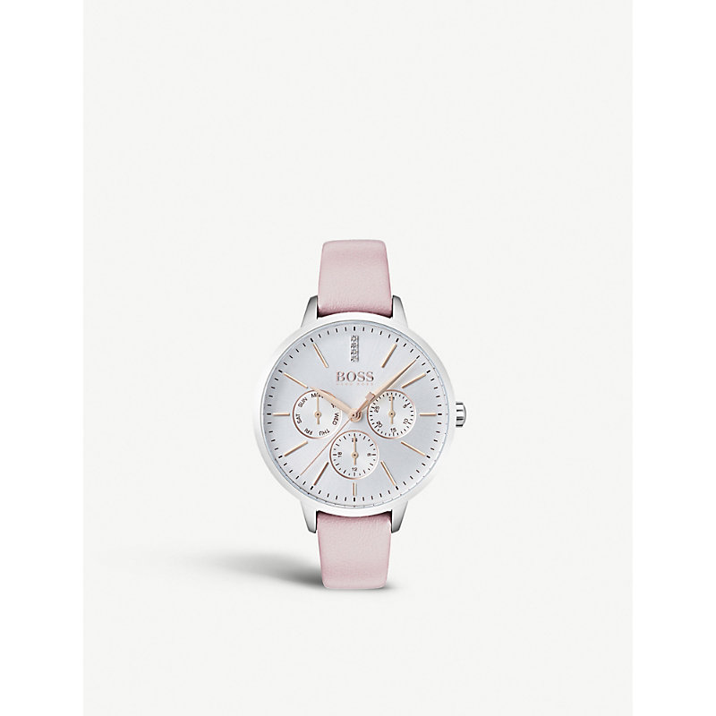 HUGO BOSS | 1502419 Symphony Stainless Steel And Leather Quartz Watch | Goxip