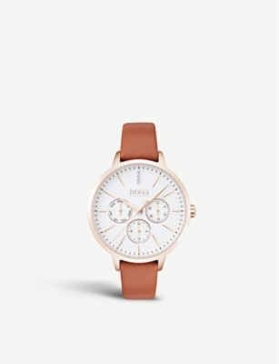 BOSS 1502420 Symphony rose gold-plated and leather quartz watch