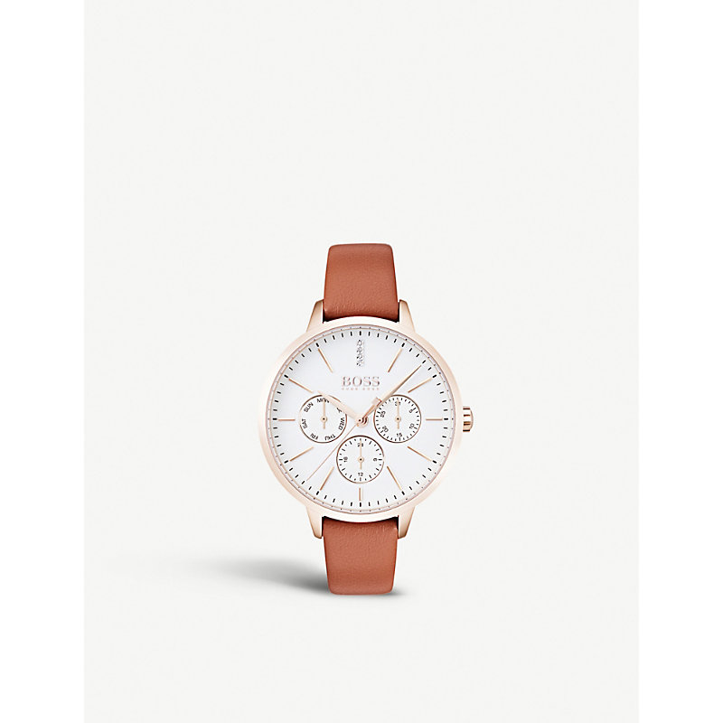 HUGO BOSS | 1502420 Symphony Rose Gold-Plated And Leather Quartz Watch | Goxip