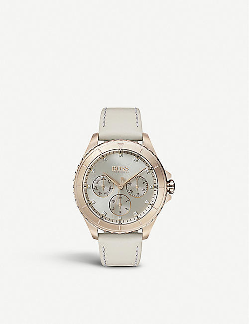 BOSS: 1502447 Premiere rose gold-plated and leather watch