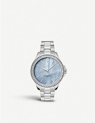 BOSS: 1502457 Victoria mother-of-pearl crystal-embellished quartz watch