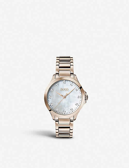 BOSS 1502523 Diamonds for Her rose-gold PVD and diamond watch