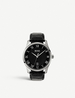 BOSS 1513585 Master stainless steel and leather watch
