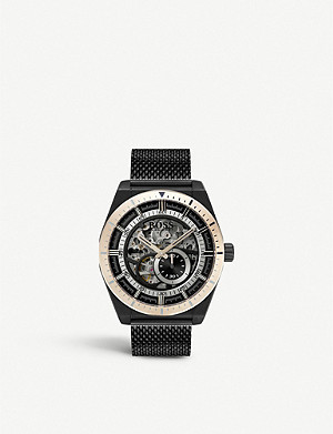 BOSS 1513655 Skeleton Collection Signature black ion plated steel watch
