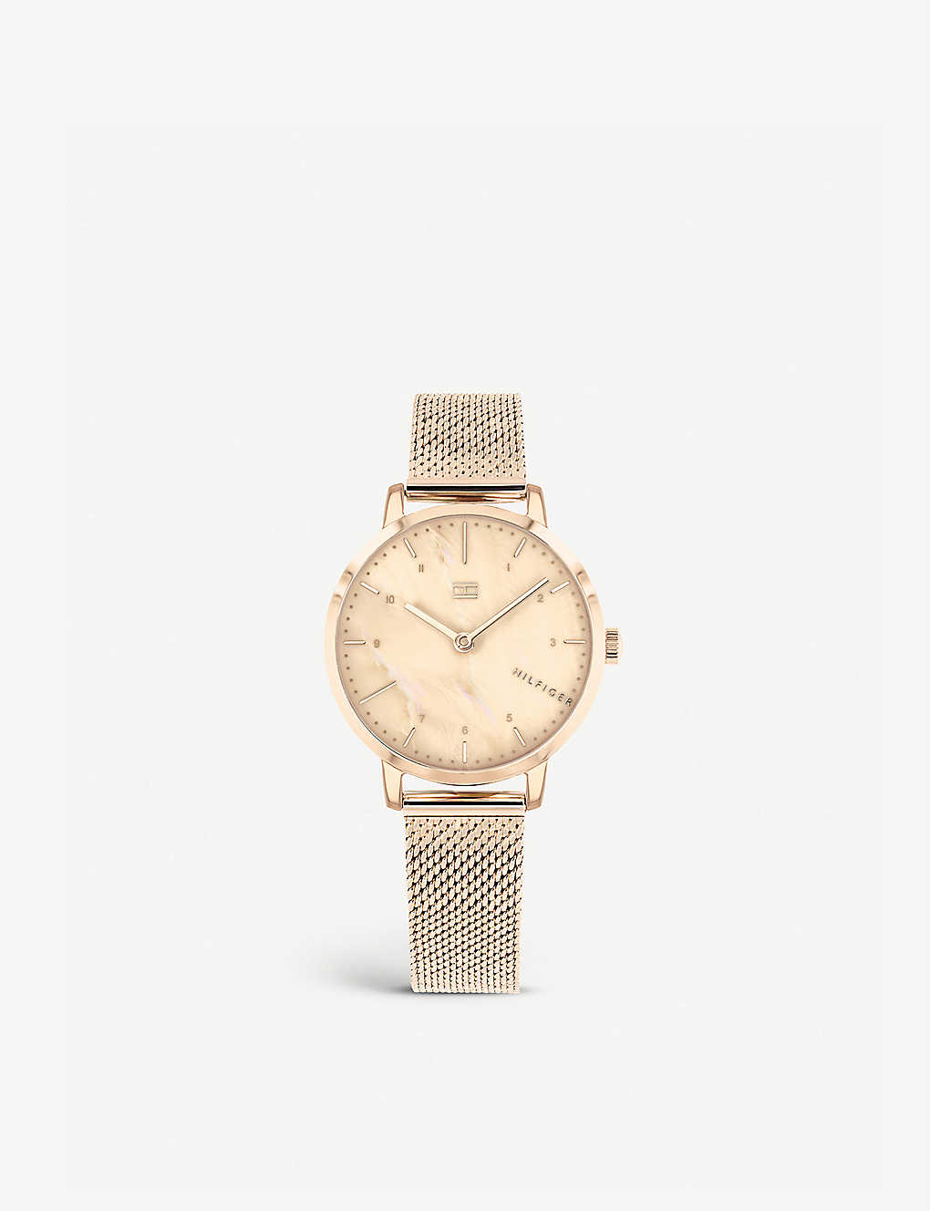 9a8704d0 TOMMY HILFIGER Lily rose-gold-plated and mother-of-pearl quartz watch
