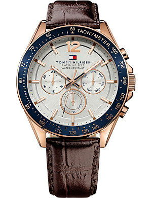 TOMMY HILFIGER 1791118 leather and rose gold-plated stainless steel watch