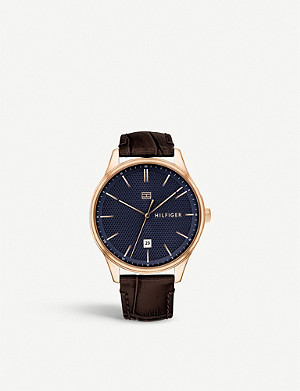TOMMY HILFIGER 1791493 Damon rose gold-plated and leather watch