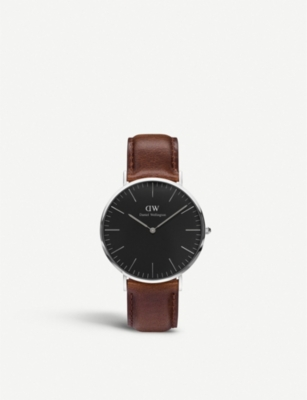 DANIEL WELLINGTON Classic Bristol leather and stainless steel watch 40mm