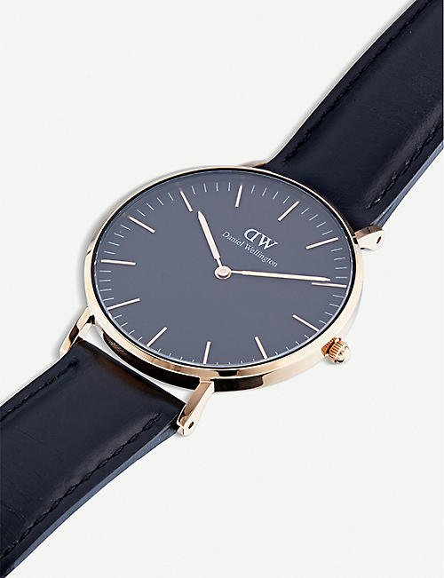 DANIEL WELLINGTON Classic Black Sheffield leather and stainless steel watch