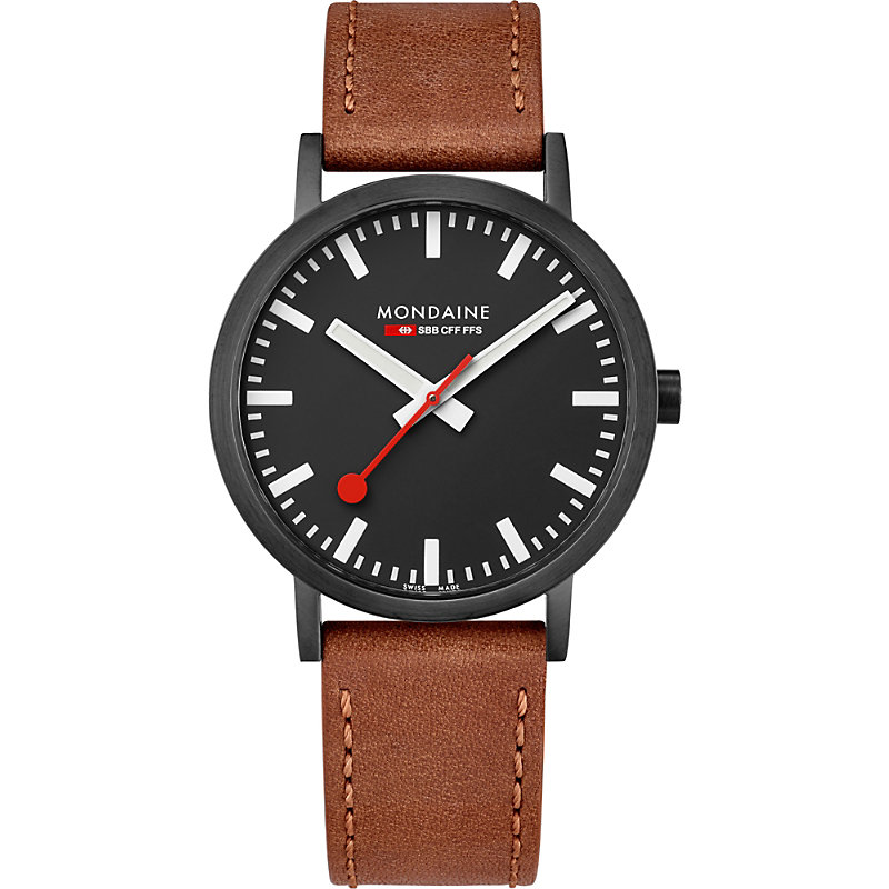 MONDAINE A660-30360-64Sbg Sbb Classic Leather And Ip Black Stainless Steel Watch in Brown
