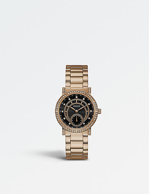 e11b6d3d16198 GUESS W1006L2 Constellation PVD rose gold-plated stainless steel watch