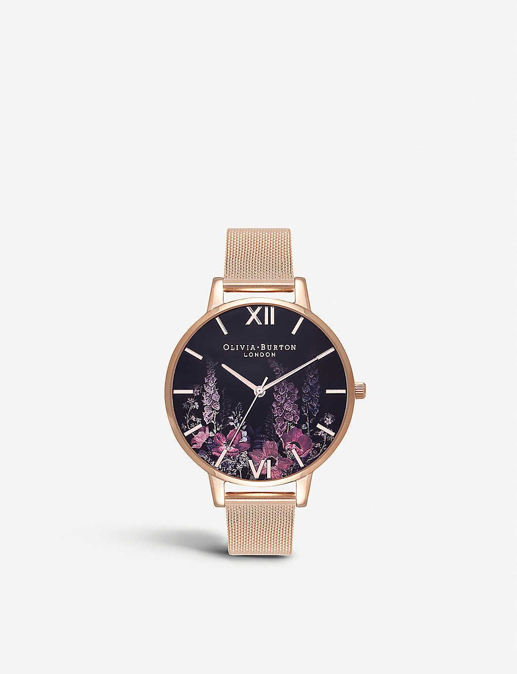 3740e80a3893 OLIVIA BURTON - OB16EX94 Dark Bouquet rose gold-plated watch ...