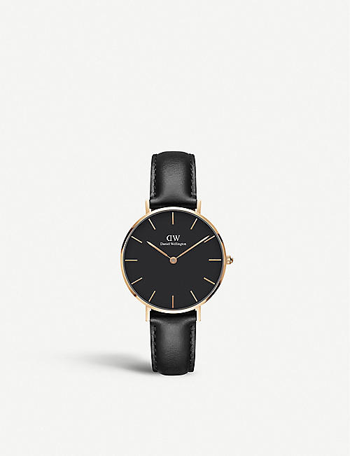 DANIEL WELLINGTON Classic Petite Sheffield rose-gold and leather strap quartz watch