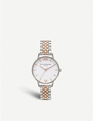 OLIVIA BURTON: OB16MDW25 Wonderland silver and rose-gold plated link bracelet quartz watch