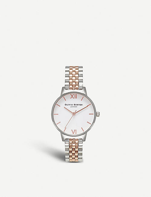 a2387c1a6ff OLIVIA BURTON OB16MDW25 Wonderland silver and rose-gold plated link  bracelet quartz watch