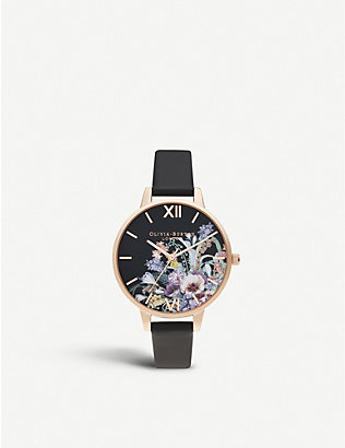 OLIVIA BURTON: OB16EG113 Enchanted Garden yellow gold-plated stainless-steel and leather watch