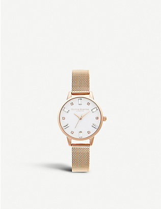 OLIVIA BURTON: Bejewelled rose gold-plated stainless steel watch