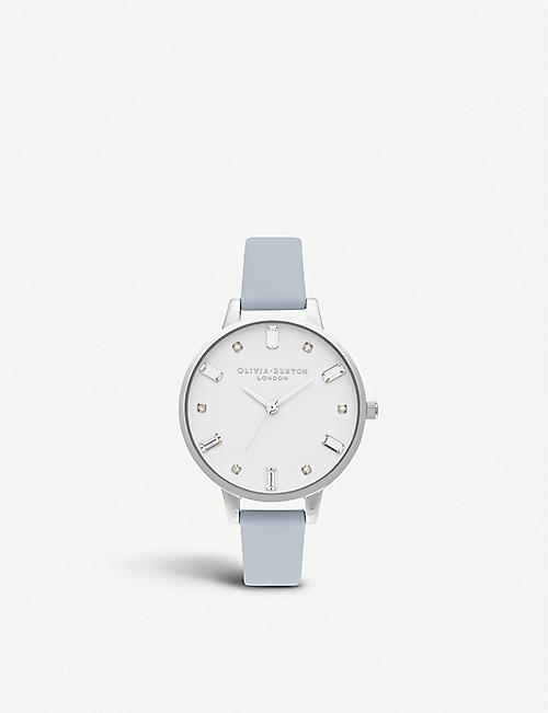 OLIVIA BURTON: OB16BJ01 Bejewelled stainless steel and faux-leather watch