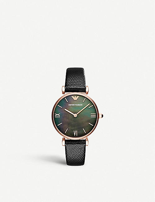 EMPORIO ARMANI: Gianni T. mother-of-pearl, stainless steel and leather watch