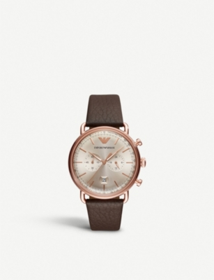 MICHAEL KORS AR11106 rose-gold tone and leather watch