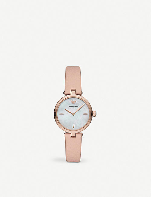 EMPORIO ARMANI: AR11199 Arianna rose-toned stainless steel and mother-of-pearl watch