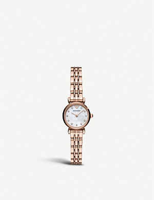 EMPORIO ARMANI AR11203 Gianni T-bar rose gold-toned stainless steel and mother-of-pearl watch
