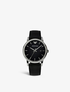 EMPORIO ARMANI AR1692 Luigi stainless steel and leather strap watch