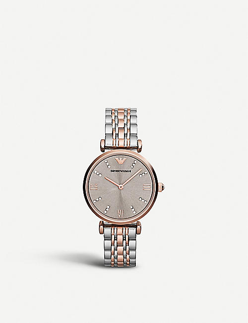 EMPORIO ARMANI: AR1840 Gianni T-Bar stainless steel and rose gold-plated watch