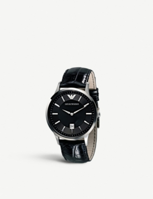 EMPORIO ARMANI AR2411 stainless steel and leather watch