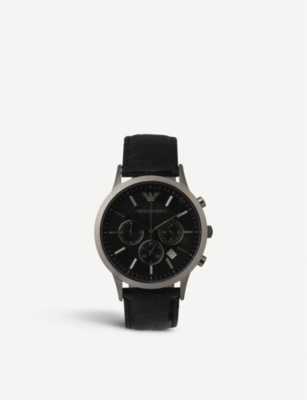 EMPORIO ARMANI SWISS AR2447 steel and leather unisex watch