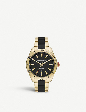 ARMANI EXCHANGE AX1825 Enzo yellow-gold plated stainless steel and silicone watch