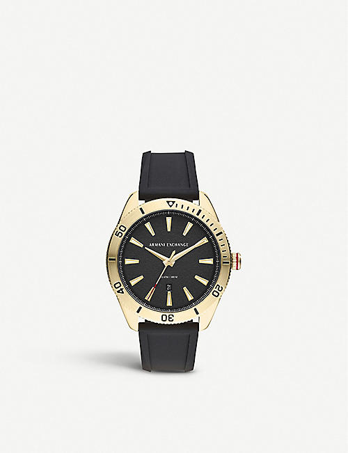 ARMANI EXCHANGE AX1828 Enzo yellow gold-plated stainless steel and silicone watch