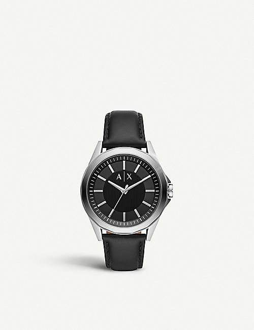 ARMANI EXCHANGE AX2621 stainless steel and leather watch