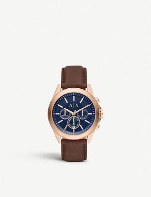 ARMANI EXCHANGE AX2626 Drexler rose-gold plated and leather watch