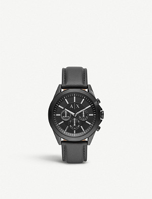 ARMANI EXCHANGE AX2627 Drexler black PVD plated stainless steel and leather watch