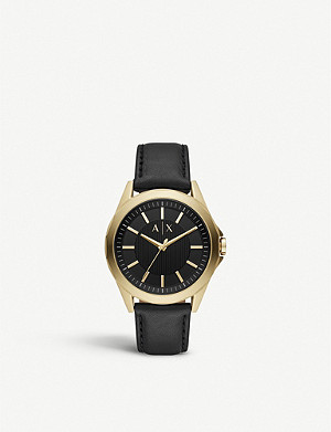 ARMANI EXCHANGE AX2636 Drexler rose-gold plated stainless steel and leather watch