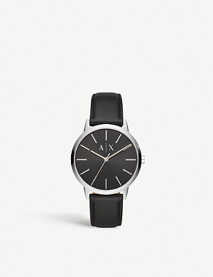 ARMANI EXCHANGE AX2703 stainless steel and leather watch